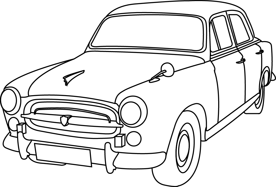 Brown Bomber Car Drawing Sketch Coloring Page